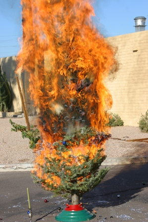 Christmas tree on fire.  No relation to TV show.